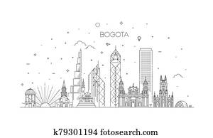 Bogota architecture line skyline illustration. Linear vector cityscape with famous landmarks