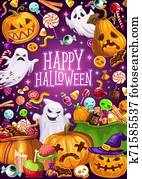 Halloween holiday, ghosts and Jack lanterns