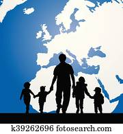 migration father with children map in background illustration