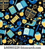 Yom Kippur seamless pattern with candles, apples and shofar and sybols. Jewish holiday background. surface print illustration. Translation in Enhlish of atonement day.