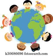 Diverse children around the Earth globe. Vector Illustration