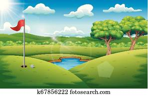 Golf course on the landscape background