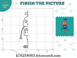 kopie, bild, vektor, illustration., vollst?ndig, und, f?rbung, spiel, für, vorschulisch, und, bilden kinder