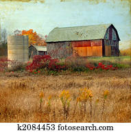 Old Barn on a Grunge Background