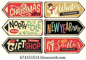 sammlung, von, feiertag, weihnachten, zeichenpfosten