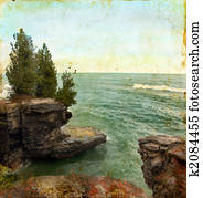 Sea Cliff on a Grunge Background