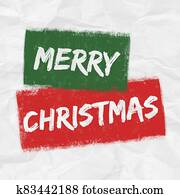 A festive green, red and white MERRY CHRISTMAS graphic illustration with creased paper texture background and grunge elements
