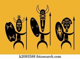 African Zulu Warrior Shield Drawing | k35067133 | Fotosearch