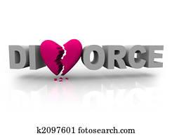 Divorce - Word with Broken Heart