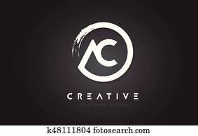ac, kreisrunder, brief, logo, mit, kreis, bürste, design, und, schwarz, hintergrund.