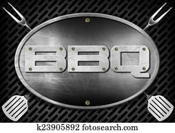Bbq Signboard with Kitchen Utensils