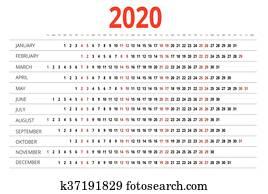 Calendario 2020 Orizzontale.Calendario Per 2017 2018 2019 2020 Settimana Inizi