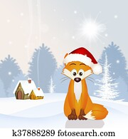 red fox with Christmas hat
