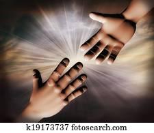 3d helping hands illustration