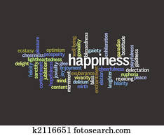 Collage of various synonyms for happiness Drawing | k2116663