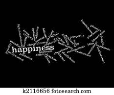 Collage of various synonyms for happiness Clip Art | k2116651