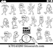 find two same pupils kids characters color book page