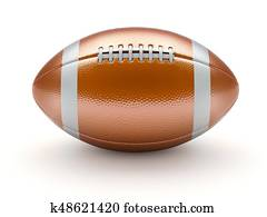 Glossy american football ball on white background