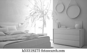 Total, Blanc, Projet, De, Moderne, Chambre à Coucher, Minimaliste,