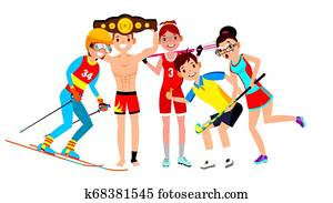 Athlete Set . Man, Woman. Skiing, Boxing, Lacrosse, Table Tennis, Field Hockey. Group Of Sports People In Uniform, Apparel. Sportsman Character In Game Action. Flat Cartoon Illustration