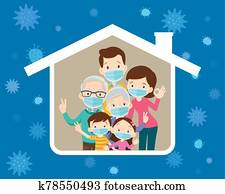 big family wearing a surgical mask to prevent virus in house icon