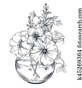 Bouquets with hand drawn flowers and plants in the jar.