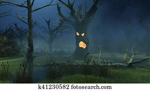 Fantastic spooky trees on night swamp