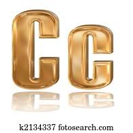 3d golden font, letter C