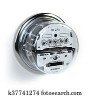 Analog electric meter isolated on white. Electricity consumption concept.