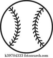 baseball, vektor, symbol