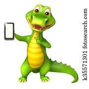 cute Aligator cartoon character with mobile