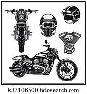 motorrad, vorderansicht, und, seitenansicht, engine,, helme, qualit?t, satz