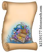 Parchment with pirate octopus