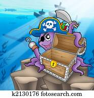 Pirate octopus with chest in sea