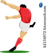 Rugby player kicking rear left