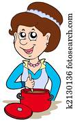 Smiling woman cooking at home
