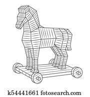 Clip Art   holz, trojanisches pferd, eps10 k19785519   Suche