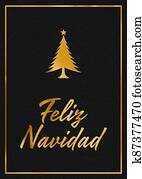 A gold leaf and black leather effect festive FELIZ NAVIDAD typographical graphic illustration with black leather background