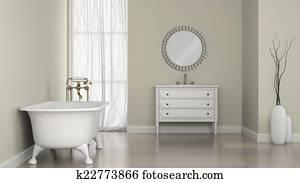 Ronde Spiegel Badkamer : Tekening binnenste van klassieke badkamer met ronde spiegel