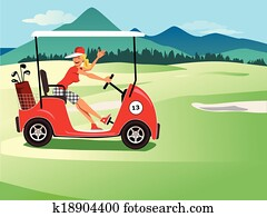 Woman driving a golf cart