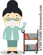 Cute cartoon vector illustration of a librarian with surgical mask and latex gloves as protection against a health emergency
