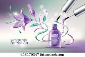 Glittering nail polish vector illustration