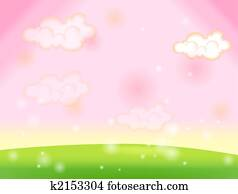 Green lawn and sky pink