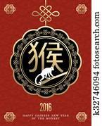 Happy chinese new year monkey 2016