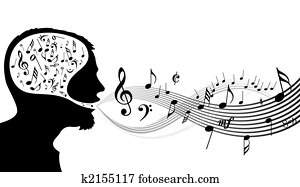 Music theme - head of the singer