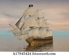 Pirate ship - 3D render