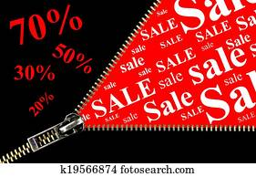 Sale placard with zipper