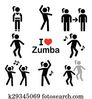 Zumba dance, workout fitness icons