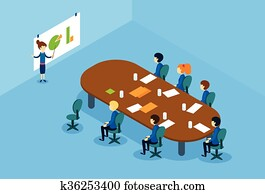 Businesswoman Show Graph Business People Group Conference Meeting Isometric