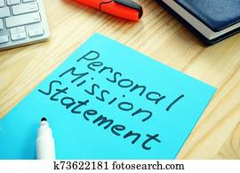 Personal Mission Statement sign on the wooden surface.